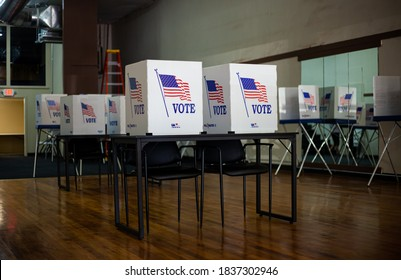 BROWNFIELD, TX - 10/09/2020 -  Voting booths at polling station during American elections.