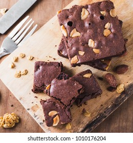 brownie almond on wooden table