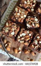 brownie with almond whole on top