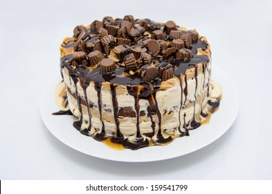 Brownie, Caramel, and Peanut Butter Ice Cream Cake