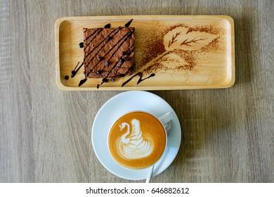 Brownie chocolate cake with coffee