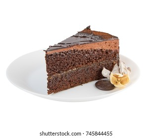Brownie chocolate cake on white plate isolated on white background