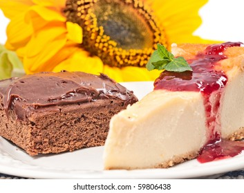 Brownie and Lemon Pie with sunflower in the background
