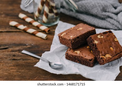 brownie on wooden table background