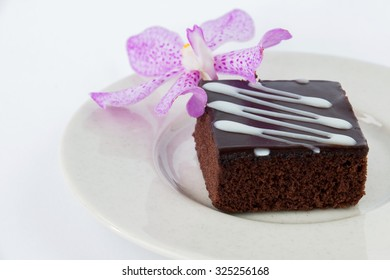 Brownies Chocolate cake isolated on white background