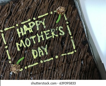 brownies chocolate cake written happy mothers day
