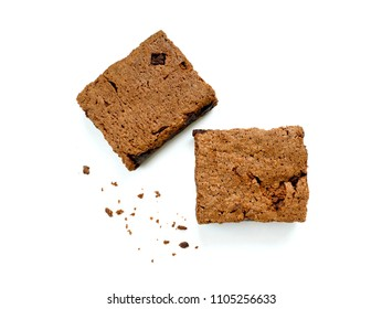 Brownies with crumbs isolated on white background. Top view.