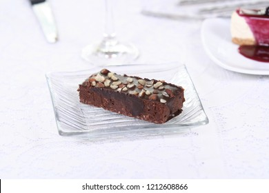 Brownies on the white table