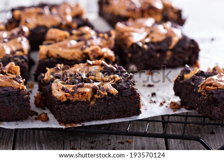 Brownies with peanut butter and chocolate drops
