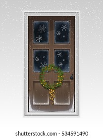 Brown-painted front door decorated with lighting and snowflakes and wreath. Christmas greeting card. Illustration for ad, poster, flier, blog, article, social media, marketing.