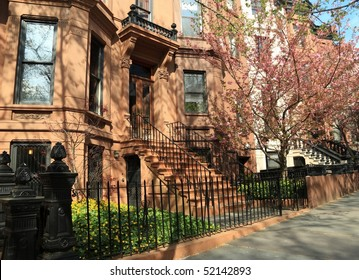 Brownstone apartment building on Berkeley Place in Spring in Park Slope, Brooklyn, New York
