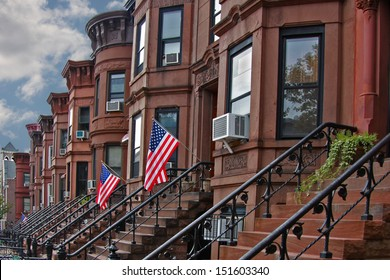 Brownstone Brooklyn/view of brownstone row houses in Sunset Park neighborhood of Brooklyn, New York.
