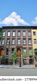Brownstone Home  urban residential neighborhood USA