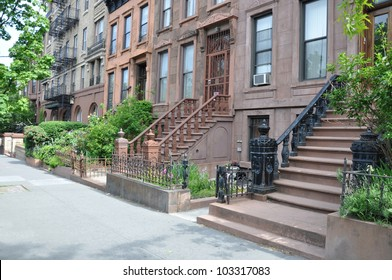 Brownstone Homes Steps Urban Residential Neighborhood Brooklyn New York