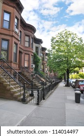 Brownstone Homes Urban Residential Neighborhood Sidewalk Trash Can Container