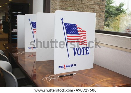BROWNSTOWN TWP, MI/USA: SEPT 29, 2016   The lobby of the office of the township clerk is set up for walk in voters. Voters may vote in person prior to the official election day.