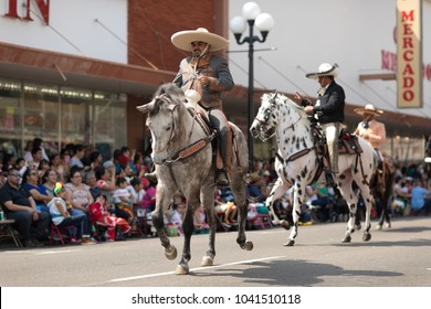 Brownsville, Texas, USA - February 24, 2018, Grand International Parade is part of the Charro Days Fiesta - Fiestas Mexicanas, A bi-national festival between USA and Mexico.
