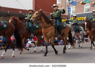Brownsville, Texas, USA - February 25, 2017, Grand International Parade is part of the Charro Days Fiesta - Fiestas Mexicanas, A bi-national festival between USA and Mexico.
