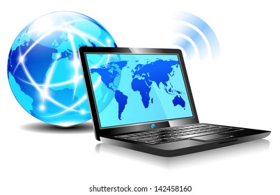 Browsing the world wide web from a laptop - internet connection - Raster Version