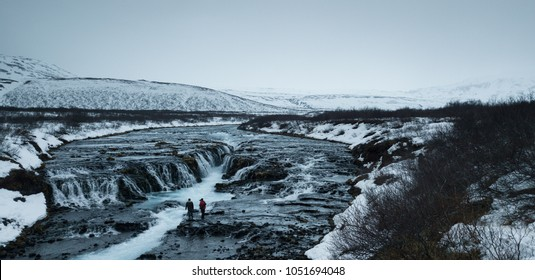 Bruarfoss Waterfall one of landmark in Iceland with two photographer while taking picture of this stunning waterfall