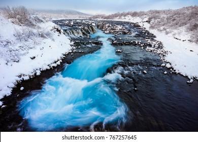 Bruarfoss waterfall in winter, Reykjavik, Iceland