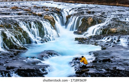 Bruarfoss,Iceland with the photographer during sunset