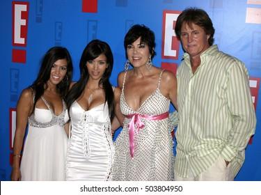 Bruce Jenner, Kris Jenner, Kim Kardashian and Kourtney Kardashian at the E! Entertainment Television's Summer Splash Event held at the Roosevelt Hotel in Hollywood, USA on August 1, 2005.