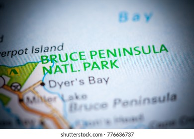 Bruce Peninsula National Park. Canada on a map.
