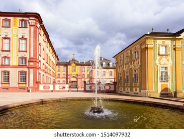 Bruchsal, Germany, 09.09.2019 A fountain on the side passage of the castle Bruchsal