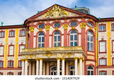 Bruchsal, Germany, 09.09.2019 Gold decorated stucco work at the castle Bruchsal