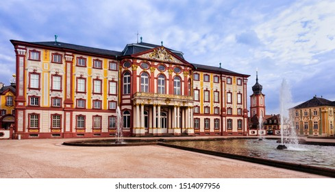 Bruchsal, Germany, 09.09.2019 The residence in the public Bruchsal castle park