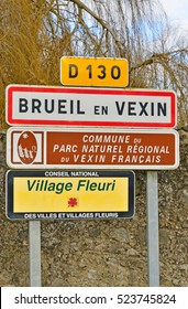 Brueil en Vexin, France - december 21 2015 : the picturesque village in winter