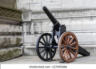 BRUESSELES, BELGIUM - 15 June 2018 - Ancient cannon in fron of the Millitary Museum, Brusseles