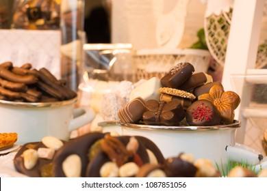Bruges / Belgium: 05/09/2015: Display of Belgium Chocolate in a shop window.