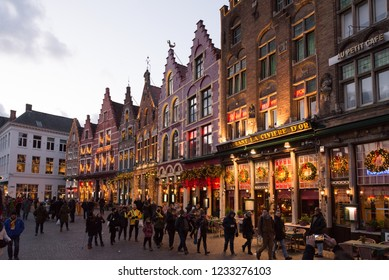 Bruges, Belgium ; 12 06 2017 : Christmas market in  Bruges, the capital  of the province of West Flanders in the Flemish Region of Belgium