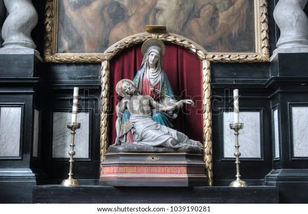 BRUGES - BELGIUM / 28.07.2012: Interior of St. Salvator's Cathedral Bruges