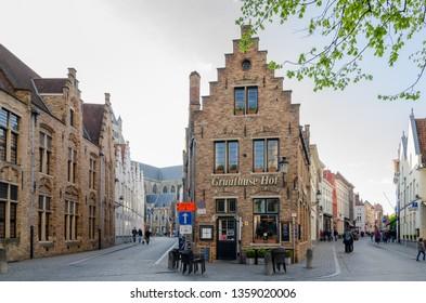 BRUGES, BELGIUM - APRIL 15, 2017: Typical Flemish house in the medieval town of Bruges, Belgium