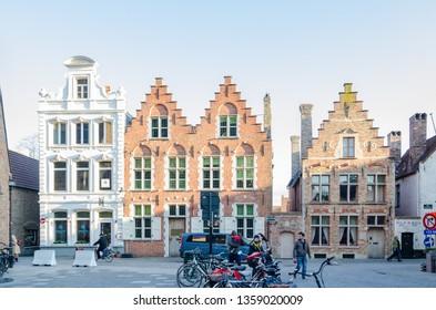 BRUGES, BELGIUM - APRIL 15, 2017: Traditional Flemish houses in the medieval town of Bruges, Belgium