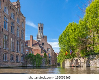 BRUGES, BELGIUM - APRIL 17, 2014: View onto the Belfort tower from the backside.