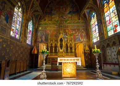 Bruges, Belgium - April 18, 2017: Interior of the Basilica of the Holy Blood - Basiliek van het Heilig Bloed