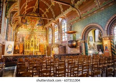 BRUGES, BELGIUM - APRIL 20, 2016: Interior of the Basilica of the Holy Blood (Basiliek van het Heilig Bloed).