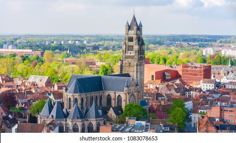 BRUGES, BELGIUM - APRIL 23, 2018: Areal view of St. Salvator's Cathedral in Bruges, Belgium. The cathedral is dedicated to the Verrezen Zaligmaker and Saint-Donatius of Reims.