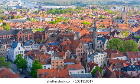 BRUGES, BELGIUM - APRIL 23, 2018:Areal view of Bruges, capital of West Flanders in northwest Belgium and popular tourist destination distinguished by its canals, cobbled streets and medieval buildings