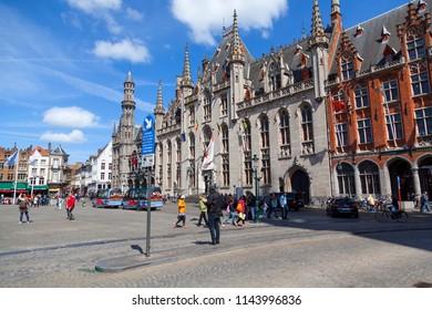 Bruges, Belgium - APRIL 26, 2018: Grote Markt square in medieval city Brugge