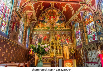 BRUGES, BELGIUM AUGUST 01, 2014 : Interiors, paintings and details of Basilica of the Holy Blood,  August 1, 2014,  in  Bruges, Belgium