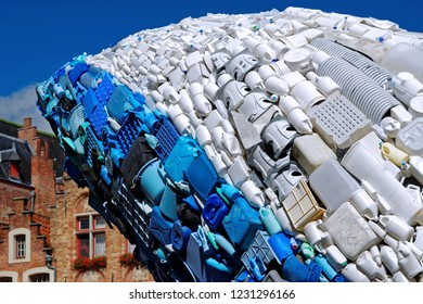 Bruges, Belgium - August 11, 2018: Detail of the Skyscraper, the Bruges Whale, statue by StudioKCA, made of plastic waste, collected from the seas and oceans of the world, part of Bruges triennial 201