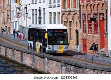 Bruges, Belgium - August 11, 2018: Public transport bus in service