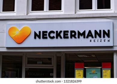 """Bruges, Belgium - August 13, 2018: The logo of the brand """"Nedckermann reisen""""."""