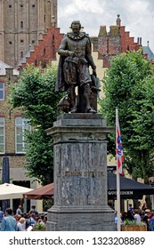 Bruges, Belgium - August 13, 2018: Statue of Flemish mathematician Simon Stevin