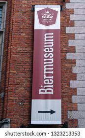Bruges, Belgium - August 13, 2018: External sign of the Bier Museum, a museum dedicated to Belgian beer.